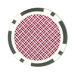 Woven2 White Marble & Red Leather (r) Poker Chip Card Guard by trendistuff