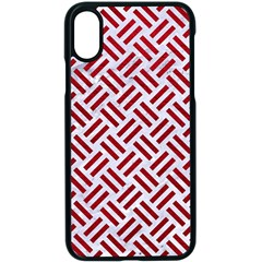 Woven2 White Marble & Red Leather (r) Apple Iphone X Seamless Case (black)
