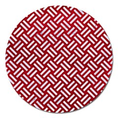 Woven2 White Marble & Red Leather Magnet 5  (round) by trendistuff