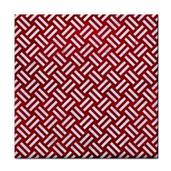 Woven2 White Marble & Red Leather Face Towel by trendistuff