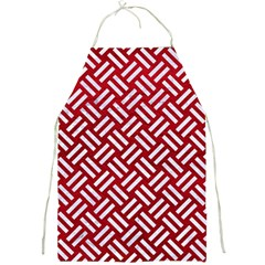 Woven2 White Marble & Red Leather Full Print Aprons by trendistuff