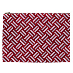 Woven2 White Marble & Red Leather Cosmetic Bag (xxl)  by trendistuff