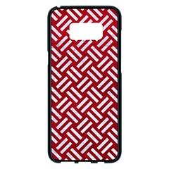 Woven2 White Marble & Red Leather Samsung Galaxy S8 Plus Black Seamless Case