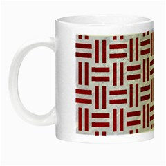 Woven1 White Marble & Red Leather (r) Night Luminous Mugs by trendistuff