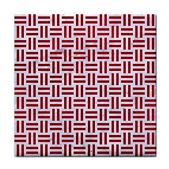 Woven1 White Marble & Red Leather (r) Face Towel by trendistuff
