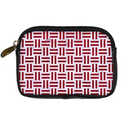 Woven1 White Marble & Red Leather (r) Digital Camera Cases by trendistuff