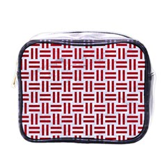 Woven1 White Marble & Red Leather (r) Mini Toiletries Bags by trendistuff