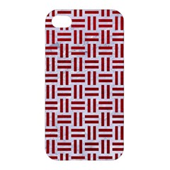 Woven1 White Marble & Red Leather (r) Apple Iphone 4/4s Hardshell Case by trendistuff