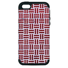 Woven1 White Marble & Red Leather (r) Apple Iphone 5 Hardshell Case (pc+silicone) by trendistuff