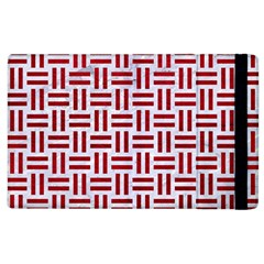 Woven1 White Marble & Red Leather (r) Apple Ipad 2 Flip Case by trendistuff