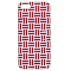 Woven1 White Marble & Red Leather (r) Apple Iphone 5 Hardshell Case With Stand by trendistuff