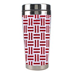 Woven1 White Marble & Red Leather (r) Stainless Steel Travel Tumblers by trendistuff