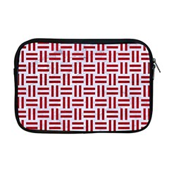 Woven1 White Marble & Red Leather (r) Apple Macbook Pro 17  Zipper Case by trendistuff