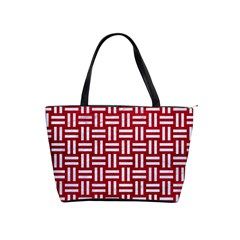Woven1 White Marble & Red Leather Shoulder Handbags by trendistuff