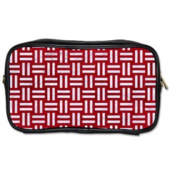 Woven1 White Marble & Red Leather Toiletries Bags by trendistuff