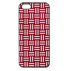 Woven1 White Marble & Red Leather Apple Iphone 5 Seamless Case (black) by trendistuff