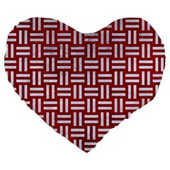 Woven1 White Marble & Red Leather Large 19  Premium Flano Heart Shape Cushions by trendistuff