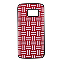 Woven1 White Marble & Red Leather Samsung Galaxy S7 Black Seamless Case by trendistuff