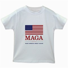 Maga Make America Great Again With Us Flag On Black Kids White T Shirts by MAGA