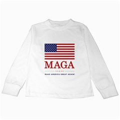 Maga Make America Great Again With Us Flag On Black Kids Long Sleeve T Shirts by MAGA