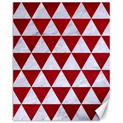 Triangle3 White Marble & Red Leather Canvas 16  X 20   by trendistuff
