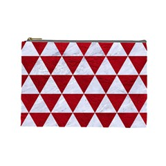 Triangle3 White Marble & Red Leather Cosmetic Bag (large)  by trendistuff