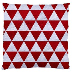 Triangle3 White Marble & Red Leather Large Cushion Case (two Sides) by trendistuff
