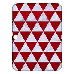 Triangle3 White Marble & Red Leather Samsung Galaxy Tab 3 (10 1 ) P5200 Hardshell Case  by trendistuff