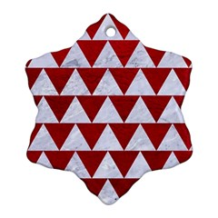 Triangle2 White Marble & Red Leather Ornament (snowflake) by trendistuff