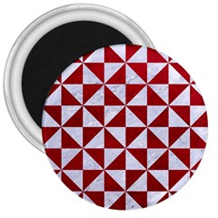 Triangle1 White Marble & Red Leather 3  Magnets by trendistuff