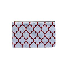Tile1 White Marble & Red Leather (r) Cosmetic Bag (small)