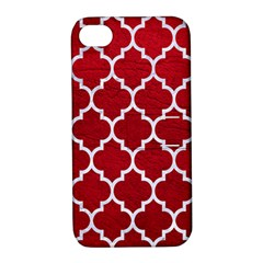 Tile1 White Marble & Red Leather Apple Iphone 4/4s Hardshell Case With Stand by trendistuff