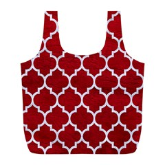 Tile1 White Marble & Red Leather Full Print Recycle Bags (l)  by trendistuff