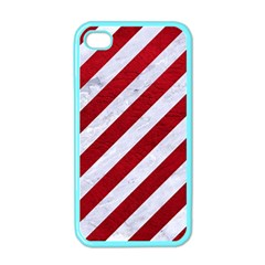 Stripes3 White Marble & Red Leather (r) Apple Iphone 4 Case (color) by trendistuff