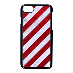 Stripes3 White Marble & Red Leather (r) Apple Iphone 8 Seamless Case (black) by trendistuff