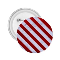 Stripes3 White Marble & Red Leather 2 25  Buttons by trendistuff