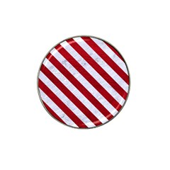 Stripes3 White Marble & Red Leather Hat Clip Ball Marker by trendistuff