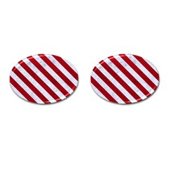 Stripes3 White Marble & Red Leather Cufflinks (oval) by trendistuff