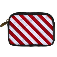 Stripes3 White Marble & Red Leather Digital Camera Cases by trendistuff