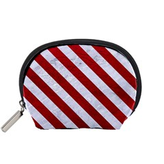 Stripes3 White Marble & Red Leather Accessory Pouches (small)  by trendistuff
