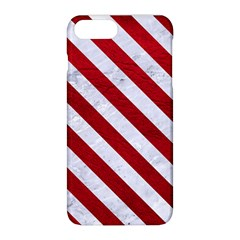 Stripes3 White Marble & Red Leather Apple Iphone 8 Plus Hardshell Case by trendistuff
