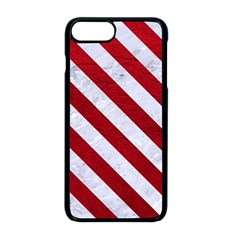 Stripes3 White Marble & Red Leather Apple Iphone 8 Plus Seamless Case (black)