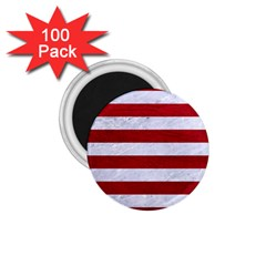 Stripes2white Marble & Red Leather 1 75  Magnets (100 Pack)  by trendistuff