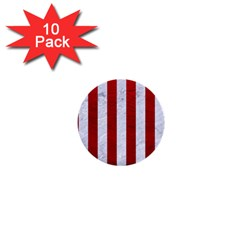 Stripes1 White Marble & Red Leather 1  Mini Buttons (10 Pack)  by trendistuff