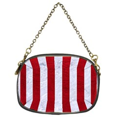 Stripes1 White Marble & Red Leather Chain Purses (one Side)  by trendistuff