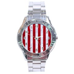 Stripes1 White Marble & Red Leather Stainless Steel Analogue Watch by trendistuff
