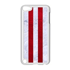 Stripes1 White Marble & Red Leather Apple Ipod Touch 5 Case (white) by trendistuff