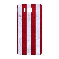 Stripes1 White Marble & Red Leather Samsung Galaxy Alpha Hardshell Back Case by trendistuff