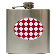 Square2 White Marble & Red Leather Hip Flask (6 Oz) by trendistuff