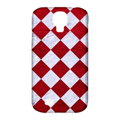 Square2 White Marble & Red Leather Samsung Galaxy S4 Classic Hardshell Case (pc+silicone)